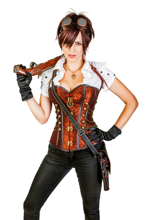 flintlock: Portrait of a beautiful steampunk woman wearing vintage corset and retro goggles Stock Photo