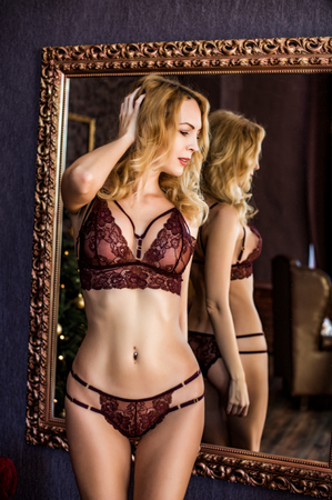 blond woman model in sexy lace lingerie