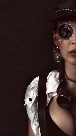 黒のスチームパンクの女の子の肖像画。眼インプラント単眼レンズ