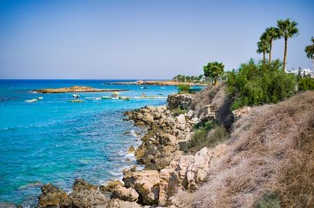 beautiful sea view and rocks on mountain on Protaras beach on Cyprus
