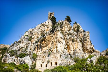 Beautiful summer view on mountain on Kyrenia, turkish republic of northern cyprus, St. Hilarion Castle Stock Photo