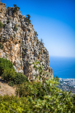 Beautiful summer view on mountain on Kyrenia, turkish republic of northern cyprus from St. Hilarion Castle Stock Photo