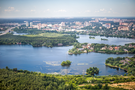 Beautiful summer birds eye view of Krasnogorsk in Moscow region of Russia