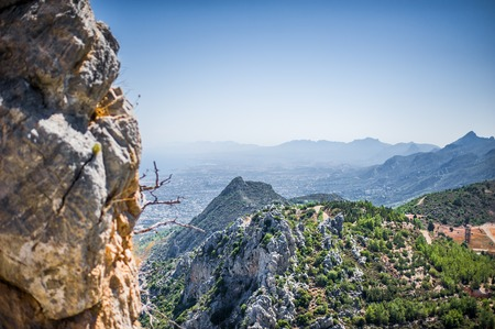 Beautiful summer view on Kyrenia, turkish republic of northern cyprus from St. Hilarion Castle