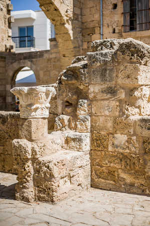 turkish republic of northern cyprus. The ruins of an old building in the city center near the main square in Famagusta