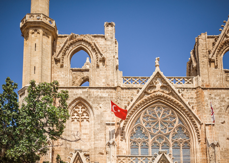 turkish republic of northern cyprus. Central square in front Lala Mustafa Pasha Turkish Mosque