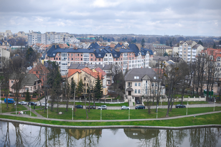 The center of Kaliningrad city in touristic place near upper pond Stock Photo