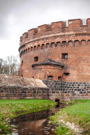 Tourist attraction the old Don tower on the banks of the upper pond in Kaliningrad