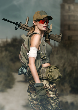military girl with automatic rifle. Dooms day