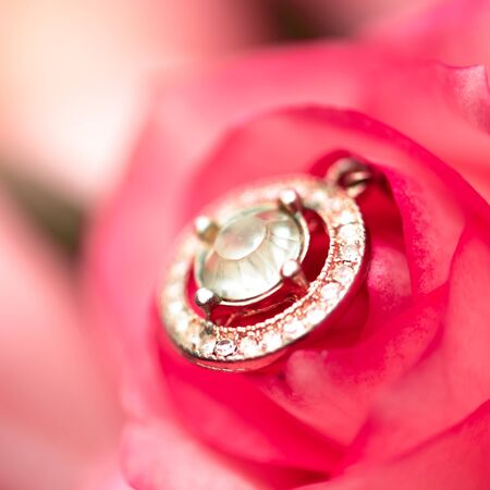 Defocus texture Valentines Day background with diamond suspension into a pink rose
