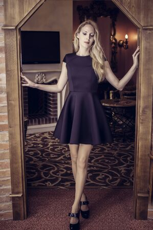 Young beautiful girl stay in a wooden doorway in a short black cocktail dress in luxury room