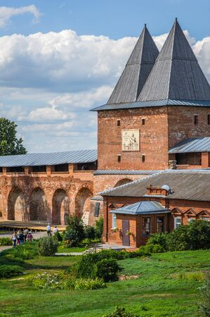 ZARAISK, RUSSIA - AUGUST 16, 2016: The territory of the Zaraisk Kremlin. Tower and wall in the Kremlin of red bricks. State Museum Reserve, Russia