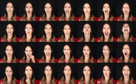 Actor Emotion Card. Collage of Young adult woman with various expressions neutral, positive and negative emotions. Stock fotó
