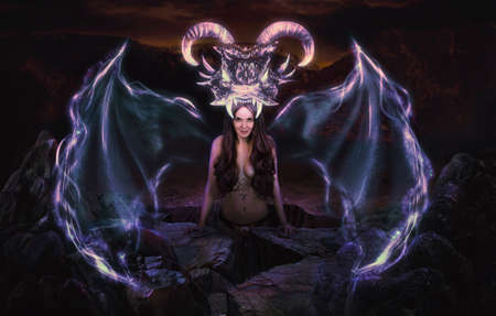 Dragon born woman witch magic in rocks Standard-Bild