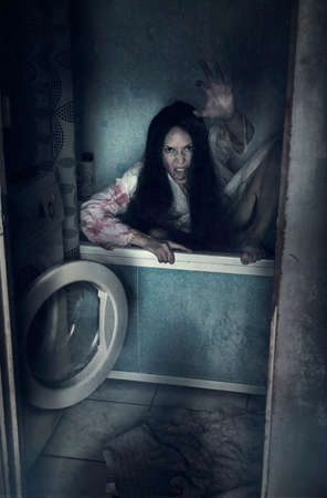 Walking dead zombie woman in bathroom into bath