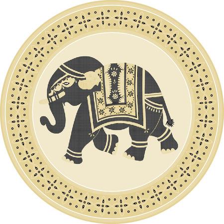 Indian batik style elephant framed with circle batik pattern Illustration