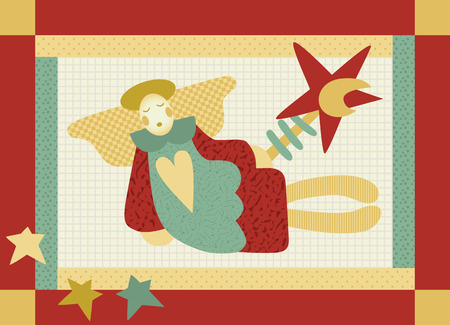 Cute patchwork style angel with the Star of Betlehem Illustration