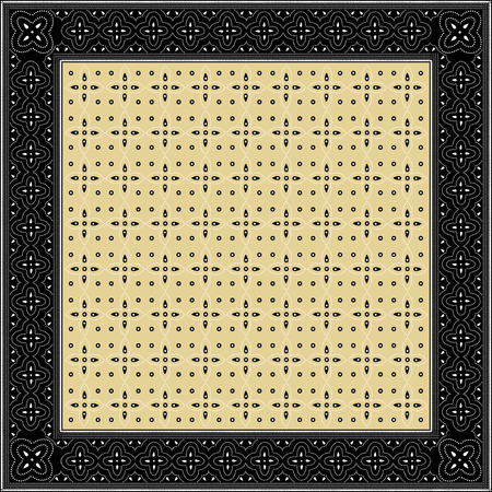 Indonesian batik style inspired, square frame, with inner background pattern