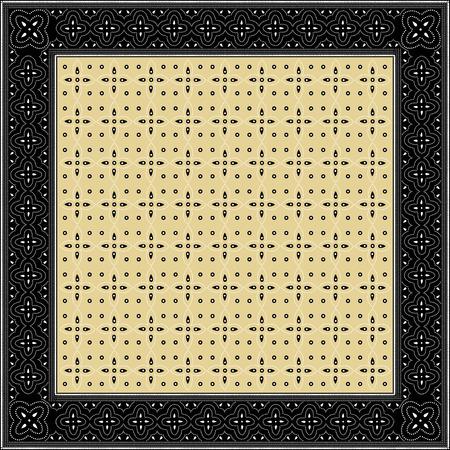 batik: Style indonésien de batik inspiré, carré, avec motif de fond intérieure Illustration