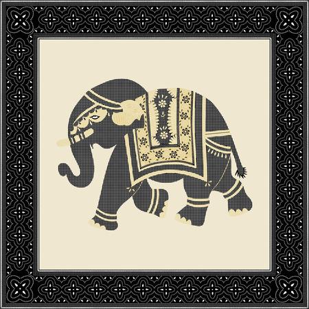batik pattern: Indian batik style elephant Illustration
