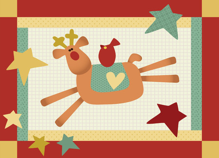 Cute patchwork style reindeer with Robin