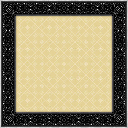 Indonesian batik style inspired, square frame, with solid inner background patternIndonesian batik style inspired, square frame, with solid inner background pattern Stock Photo