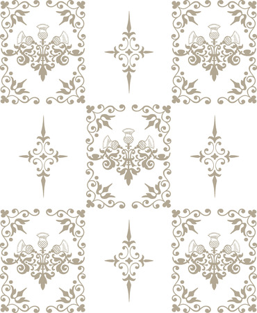Classic wallpaper background. Seamless vector pattern. Stock Photo