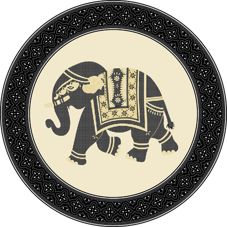 Indonesian batik style inspired illustration of an elephant in  circle frame