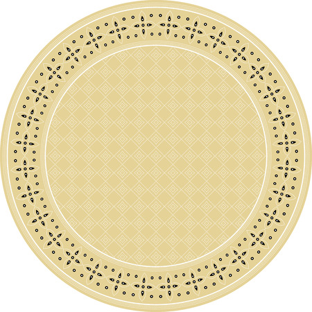 Indonesian batik style inspired, circle frame, with inner background pattern Stock Photo