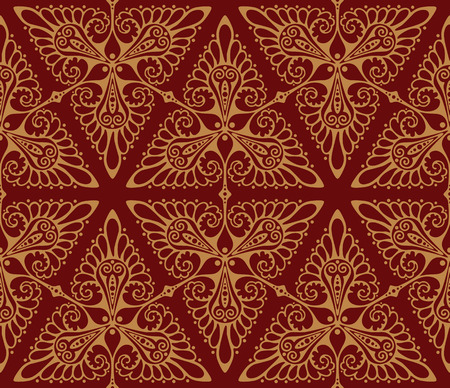 red wallpaper: Art Nouveau inspired background pattern. Seamless vector illustration.