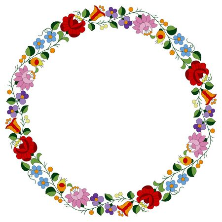 Circle frame made from authentic Hungarian embroidery folk pattern with tulip, rosebud, peonie and forgetmenot, from the famous Kalocsa region Illustration