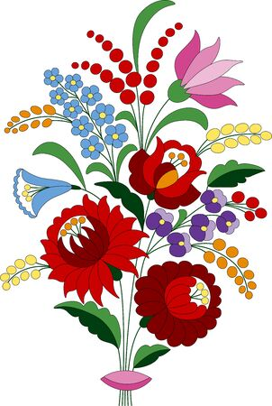 Blumenstrauß aus Rose, Tulpe, Pfingstrose, Nelke und Vergissmeinnicht, hergestellt aus authentischen ungarischen Stickerei-Volksmustern, die aus der berühmten Region Kalocsa stammen. Vektorgrafik