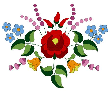 Flower bouquet of rose, tulips, paprika and forget-me-not, made of authentic Hungarian embroidery folk pattern originating from the famous Kalocsa region.