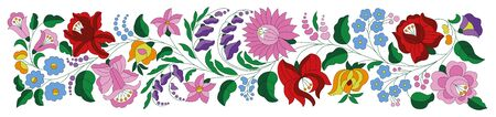 Hungarian folk pattern vector border from the famous Kalocsa region. Floral ethnic ornament. Slavic eastern european embroidery textil design. Vintage traditional flower design for wedding invitation, woman cloth.