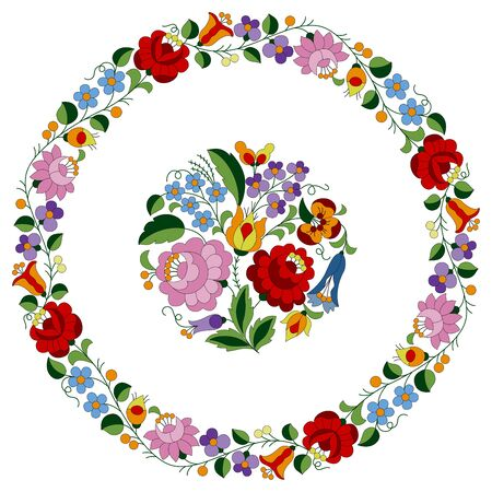 Circle frame made from authentic Hungarian embroidery folk pattern with tulip, rosebud, peonie and forgetmenot, from the famous Kalocsa region Vektorové ilustrace