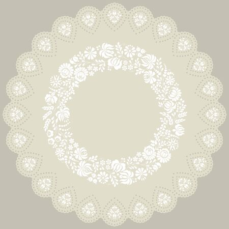 Authentic Hungarian embroidery pattern in circle doily from the famuos region of the city Kalocsa.Vector illustration. Vector Illustration
