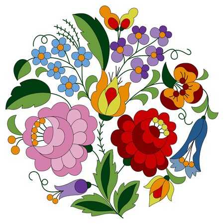 Circle shaped flower folk pattern made from authentic Hungarian embroidery motifs with tulip, rosebud, peonie and forgetmenot, from the famous Kalocsa region