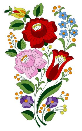 Authentic Hungarian embroidery folk pattern with tulip, rosebud, peonie and forgetmenot from the famous Kalocsa region