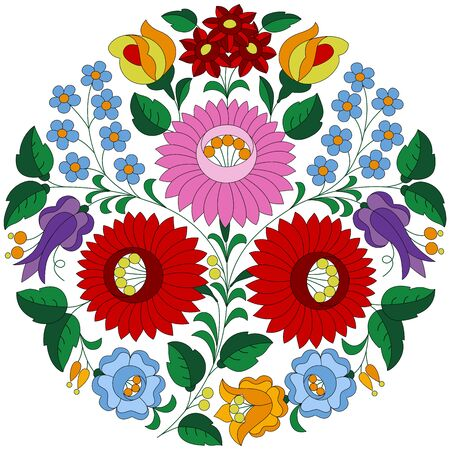Hungarian embroidery folk pattern in circle shape from Kalocs region