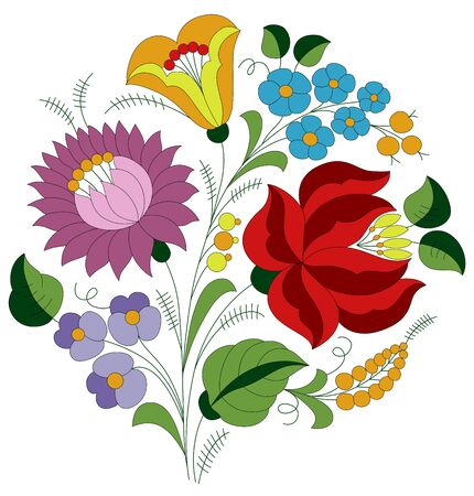 Authentic Hungarian embroidery folk pattern with tulip, rose and peonie from the famous Kalocsa region