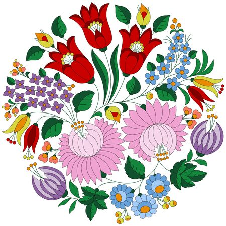 Authentic Hungarian embroidery folk pattern with tulips and peonies from the famous Kalocsa region