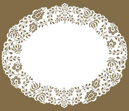 Napperon ovale bordé de dentelle de papier. Motif traditionnel hongrois de Kalocsa.