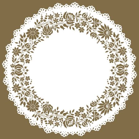 Circle shaped paper lace edged doily made of authentic Hungarian embroidery folk pattern originating from the famous Kalocsa region.