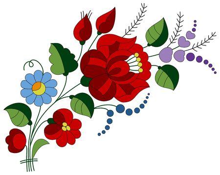 Authentisches Blumenstrauß-Stickerei-Volksmuster mit Rosenknospen und Rose. Die Motive stammen aus der ungarischen Stadt Kalocsa, die für ihre schönen Volkskunst- und Handwerksprodukte bekannt ist.