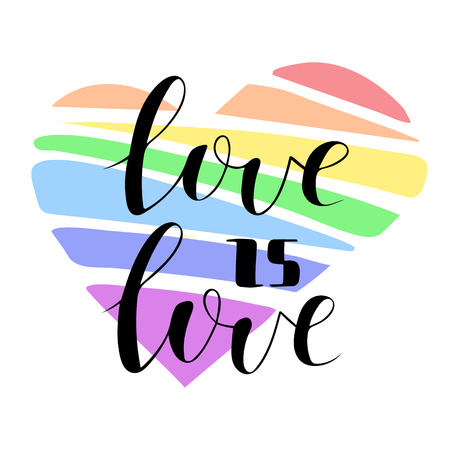 Vector illustration of love is love on big hand drawn rainbow heart.