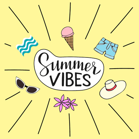 Vector illustration of Summer vibes including hand written lettering and six hand sketched icons: sunglasses, waves, ice cream, denim shorts, wide-brimmed hat and flowers.