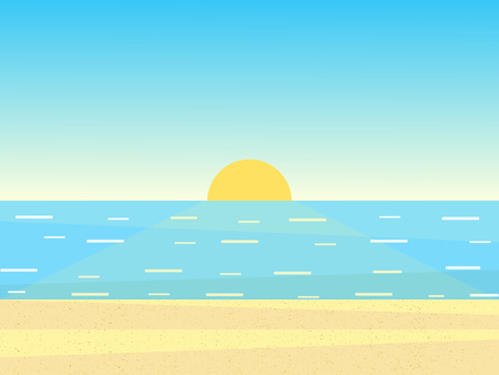 Vector illustration of sea, sky and textured sand.