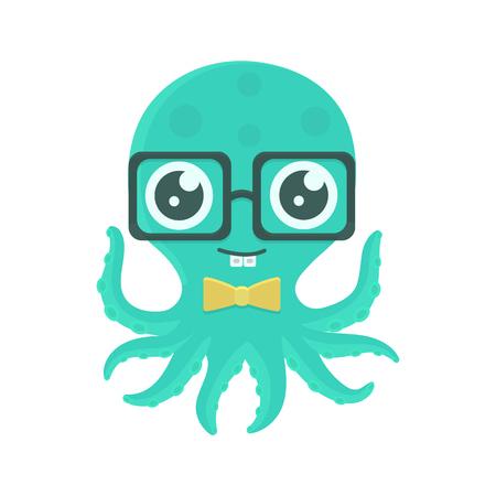 Illustrazione vettoriale di polpo carino bambino con occhiali e farfallino. Personaggio dei cartoni animati con le parentesi graffe.
