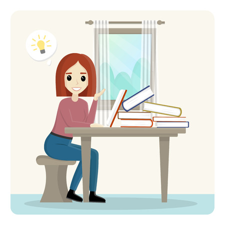 Vector illustration of a young happy female student sitting at the table with her.