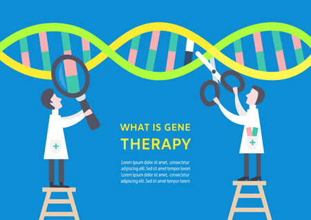 Colourful gene therapy concept banner with characters. Scientists are studying and repair human dna. Modern healthcare concept. Vector illustration eps10